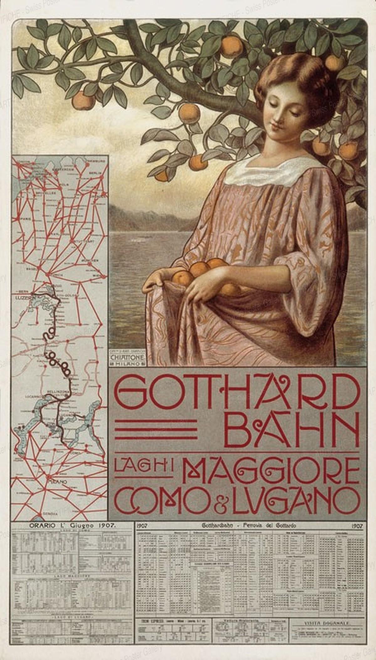 Gotthard Bahn – Laghi Maggiore, Como & Lugano, Artist unknown