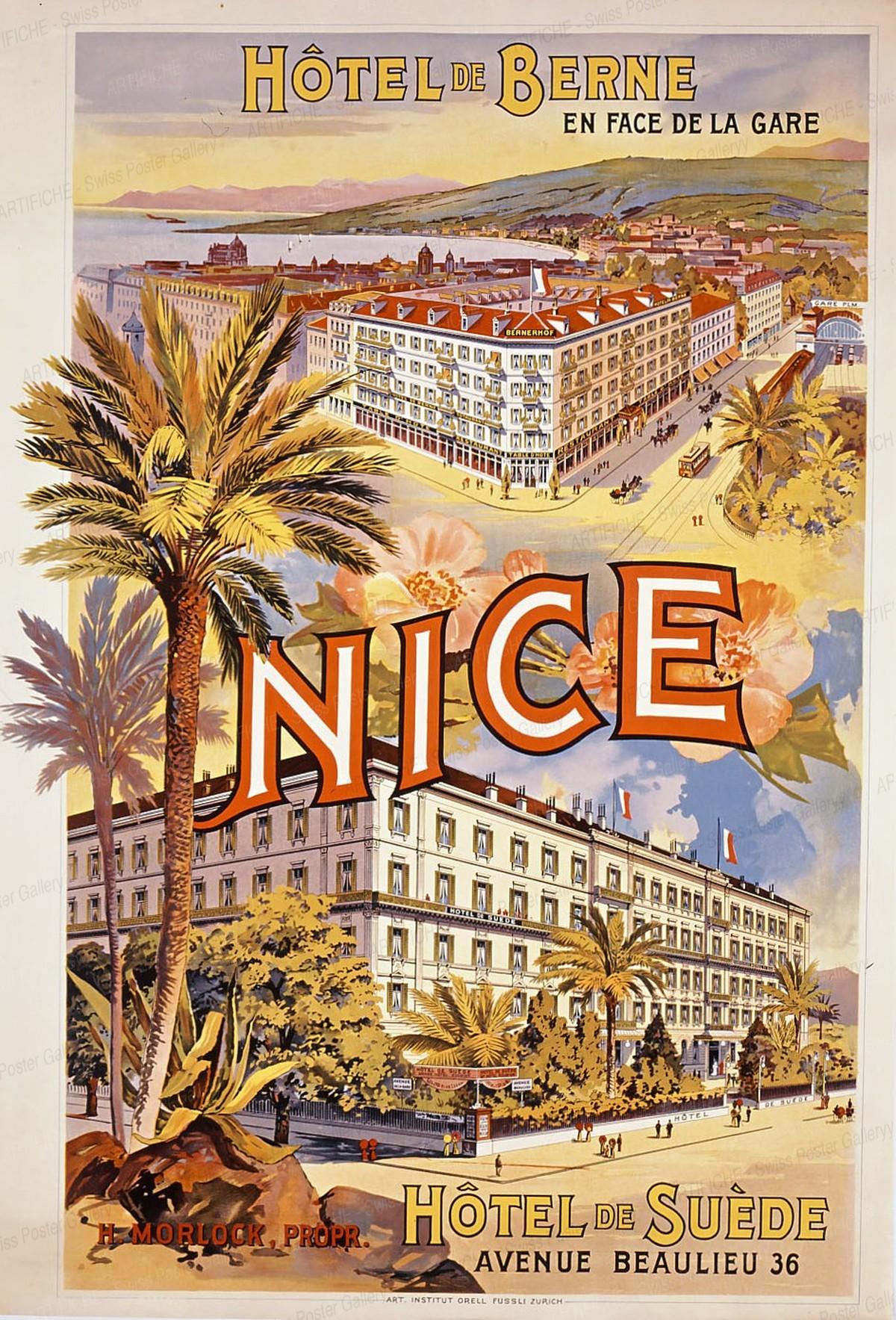 NICE – Hôtel de BERNE – En Face de la Gare – Hôtel de SUÈDE – Avenue Beaulieu 36, Artist unknown
