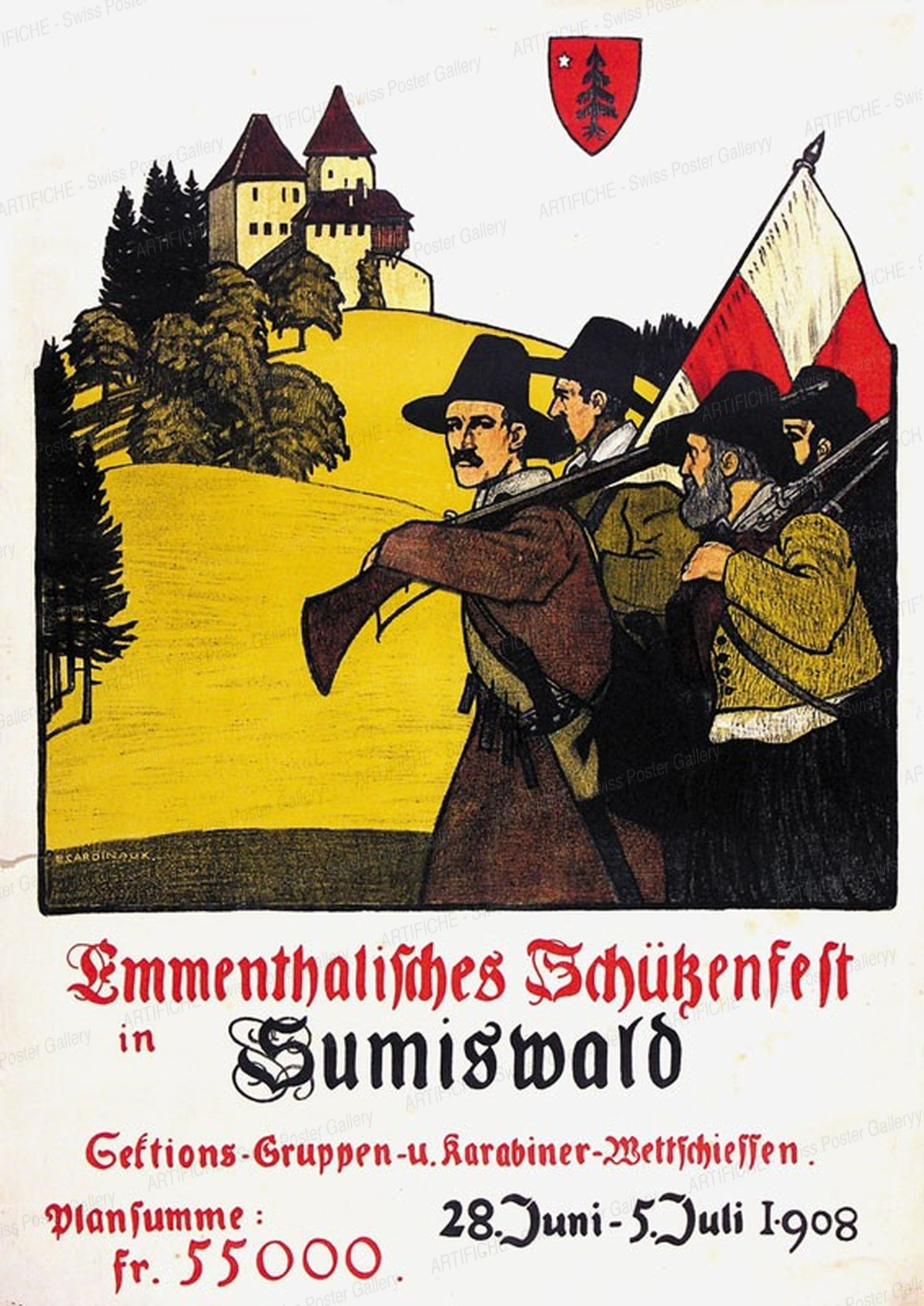 Emmenthalisches Schützenfest in Sumiswald – Sektions-Gruppen u. Karabiner-Wettschiessen – 1908, Emil Cardinaux
