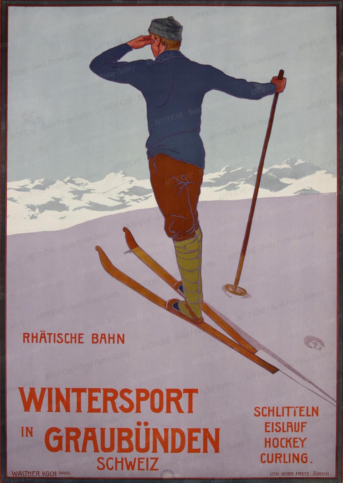Winter Sports in the Grisons – Switzerland – Rhaetian Railway, Walther Koch