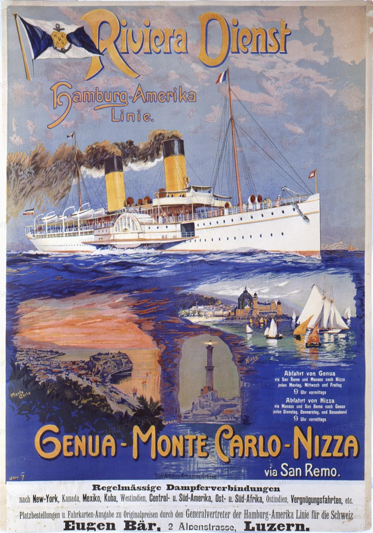 Riviera Dienst – Hamburg-America-Linie – Genua-Monte-Carlo-Nizza, Artist unknown