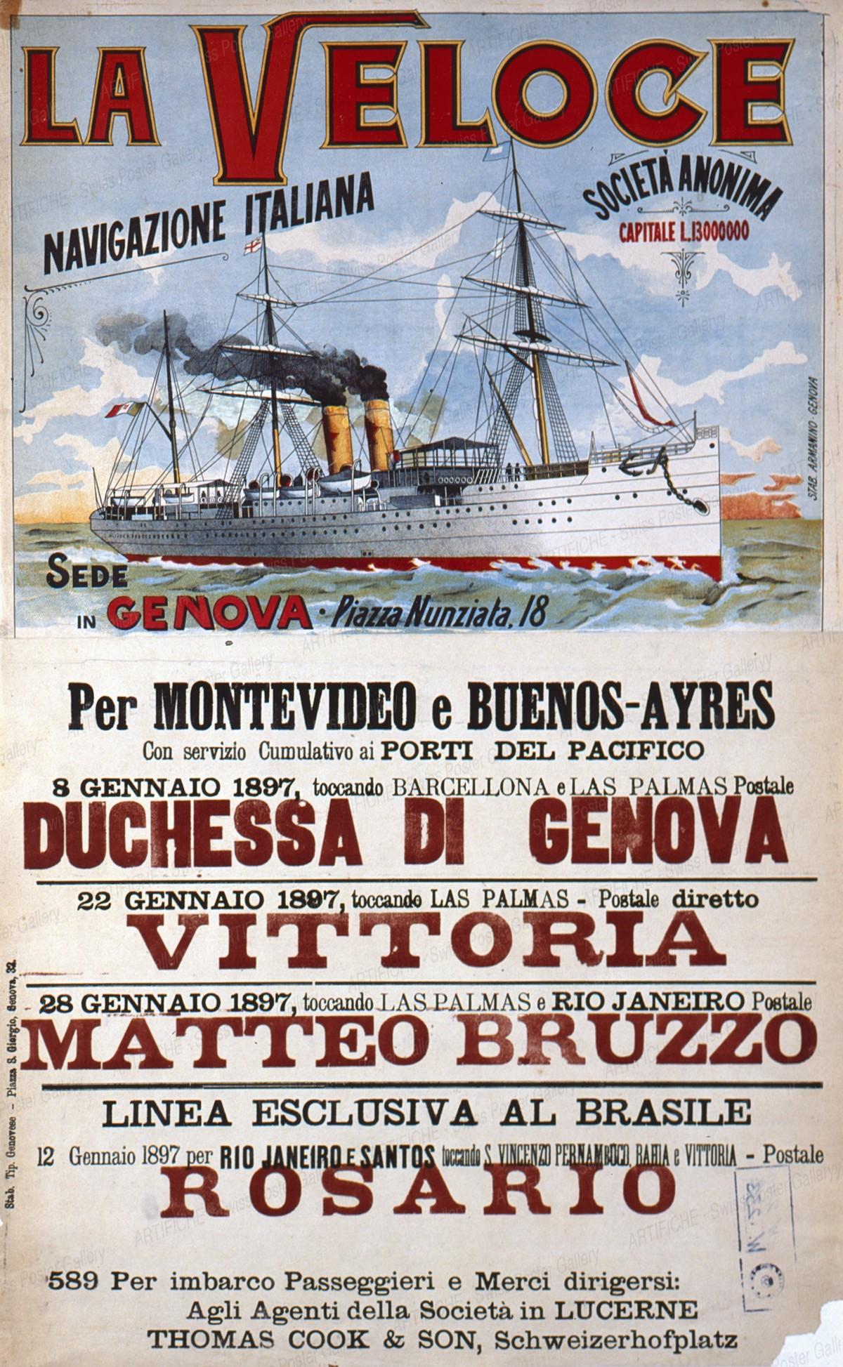 La Veloce – Navigazione Italiana – per Montevideo e Buenos-Ayres, Artist unknown
