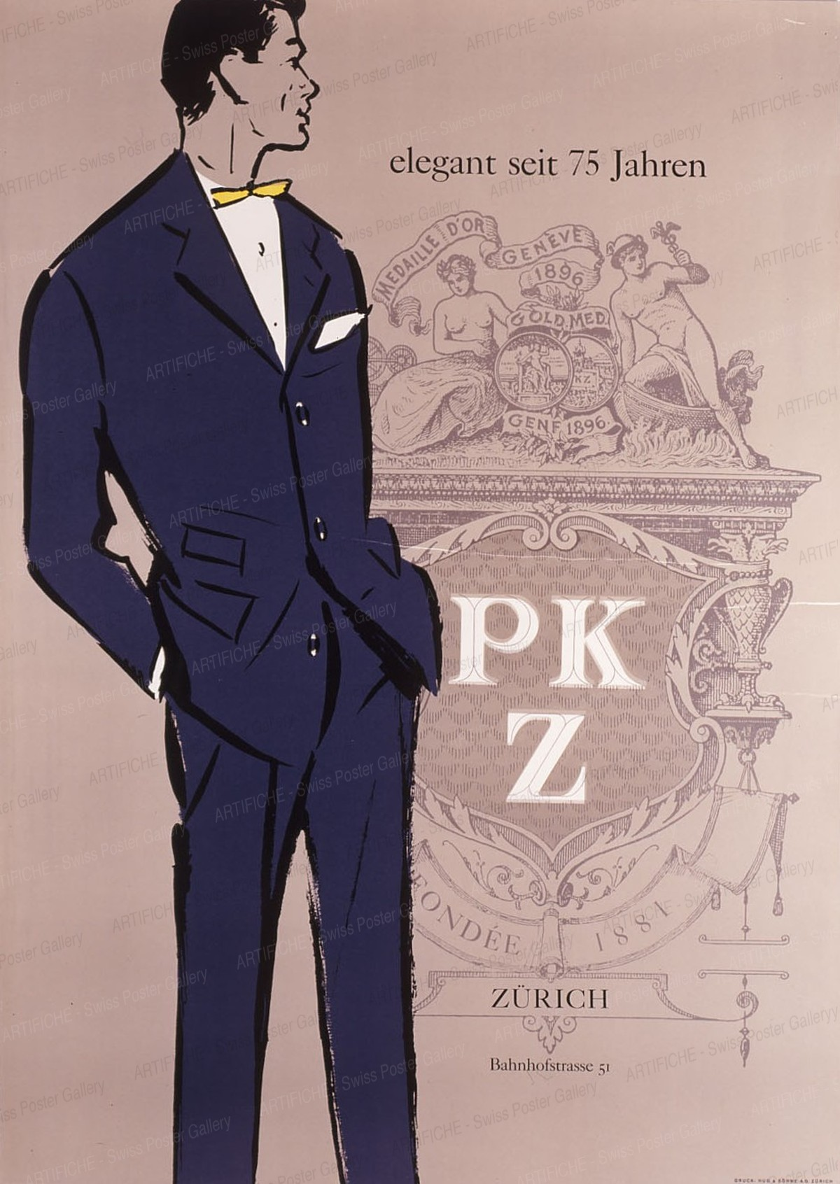 PKZ – elegant seit 75 Jahren – Zürich Bahnhofstrasse, Artist unknown