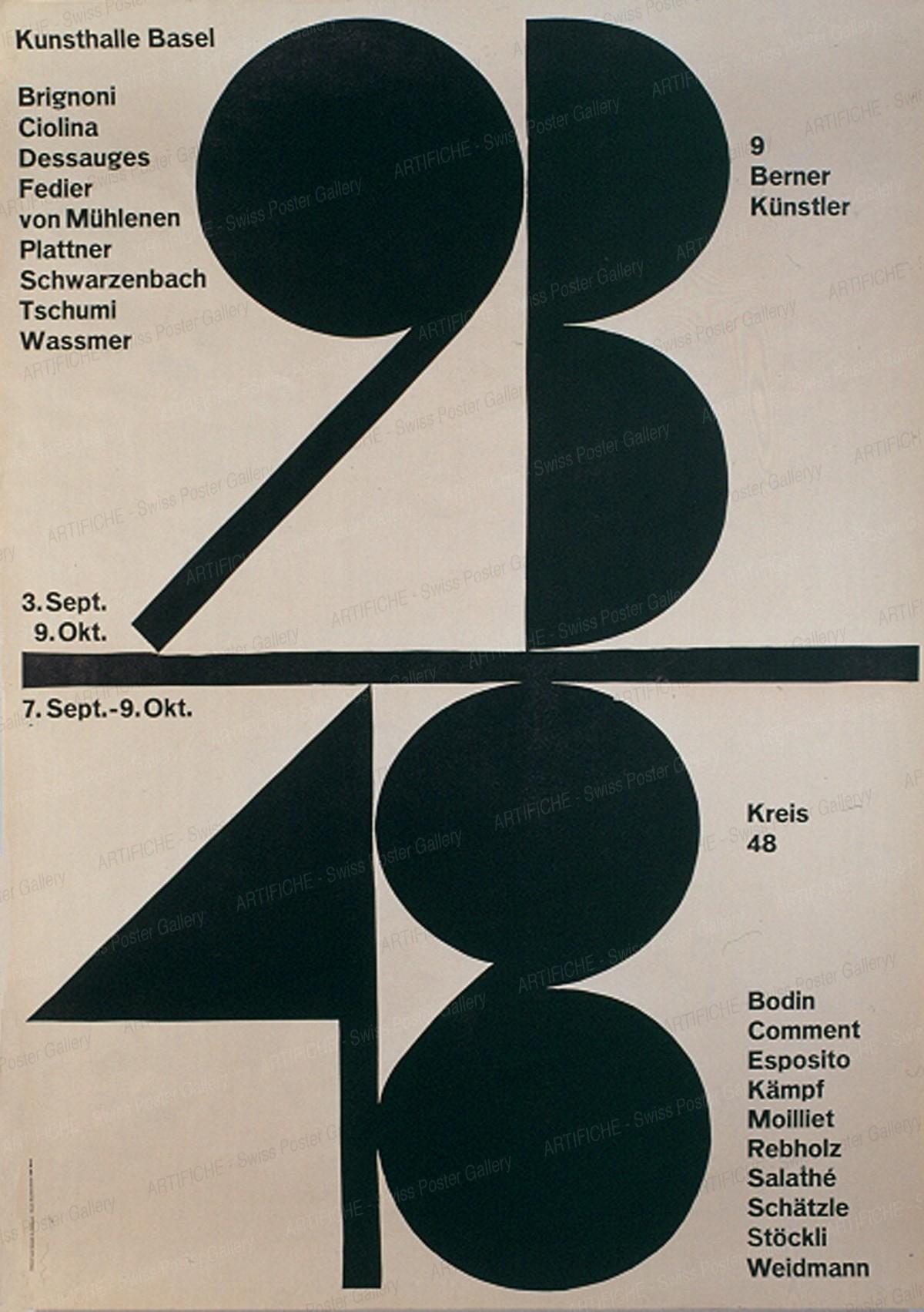 Kunsthalle Basel – 9 Berner Künstler / Kreis 48 (Ernst Messerli, Werner Witschi), Armin Hofmann