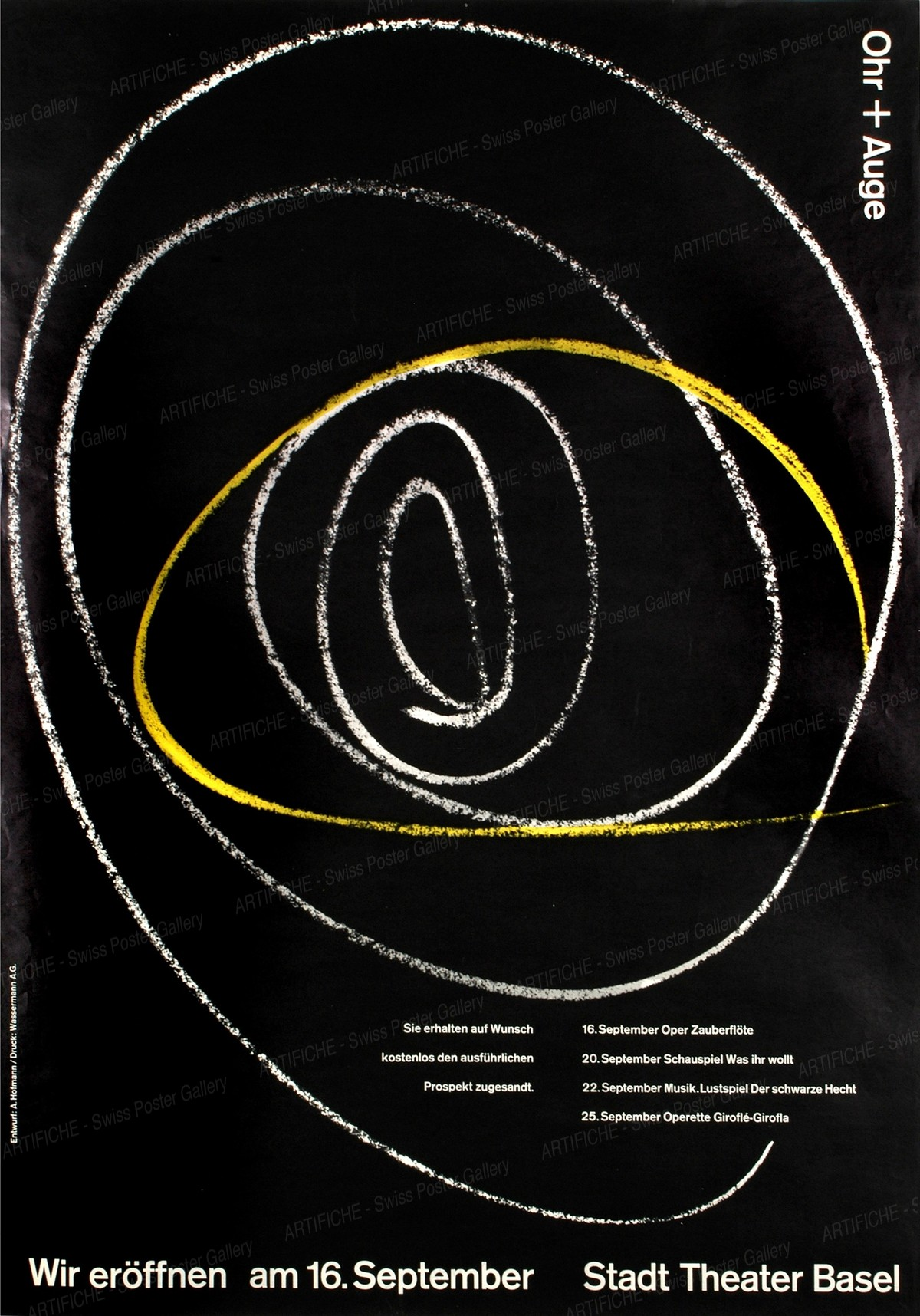 Ohr + Auge – Eröffnungsplakat Stadt-Theater Basel, Armin Hofmann