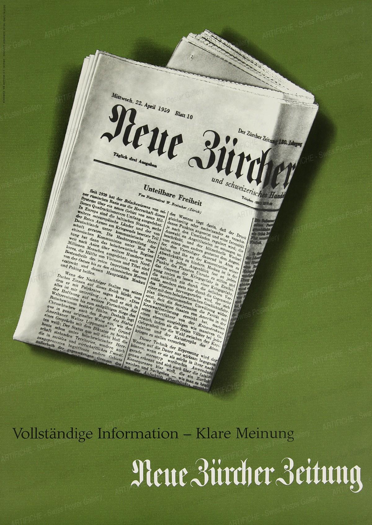 Neue Zürcher Zeitung – vollständige Information, klare Meinung, Hermann Suter
