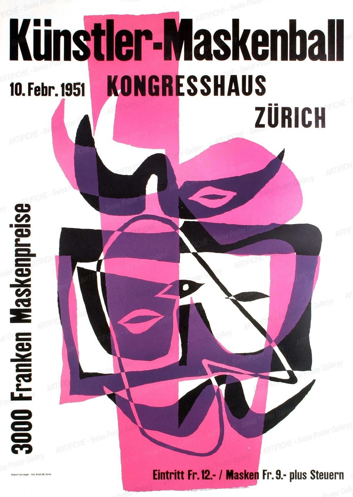 Künstler-Maskenball 1951 Kongresshaus Zürich – Fr. 3000 Maskenpreise, Leo Leuppi