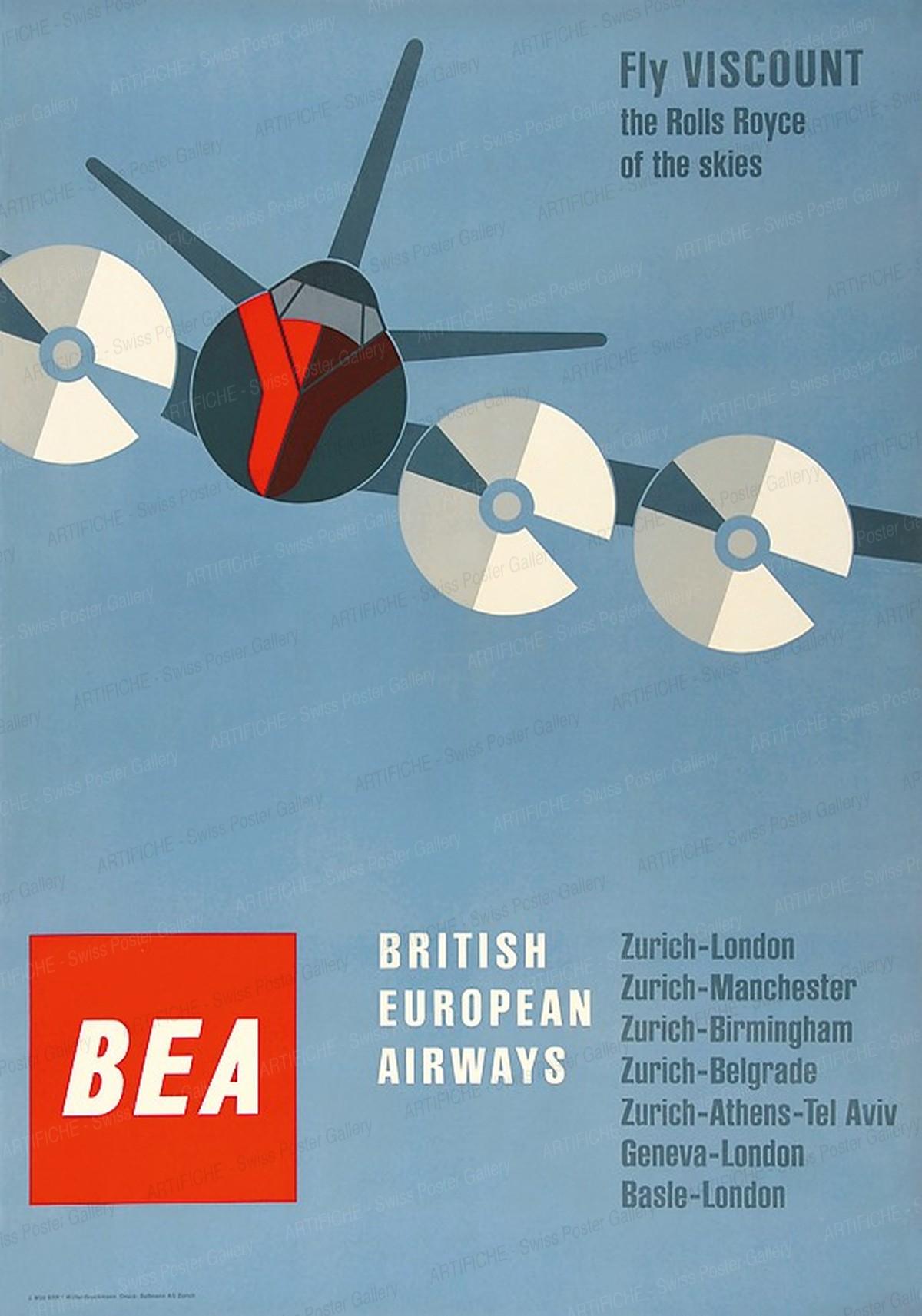 BEA – British Europen Airways – Fly Viscount – The Rolls Royce of the skies, Josef Müller-Brockmann