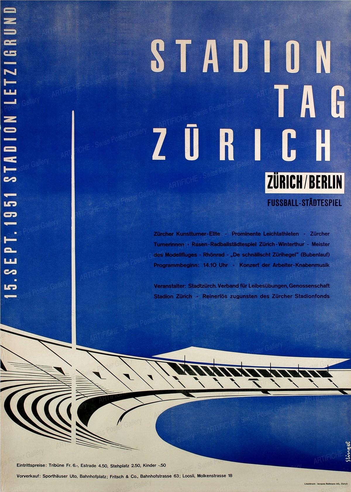 STADIONTAG Zürich / Berlin – 15. September 1951 – Stadion Letzigrund – Fussball-Städtespiel, Stingel