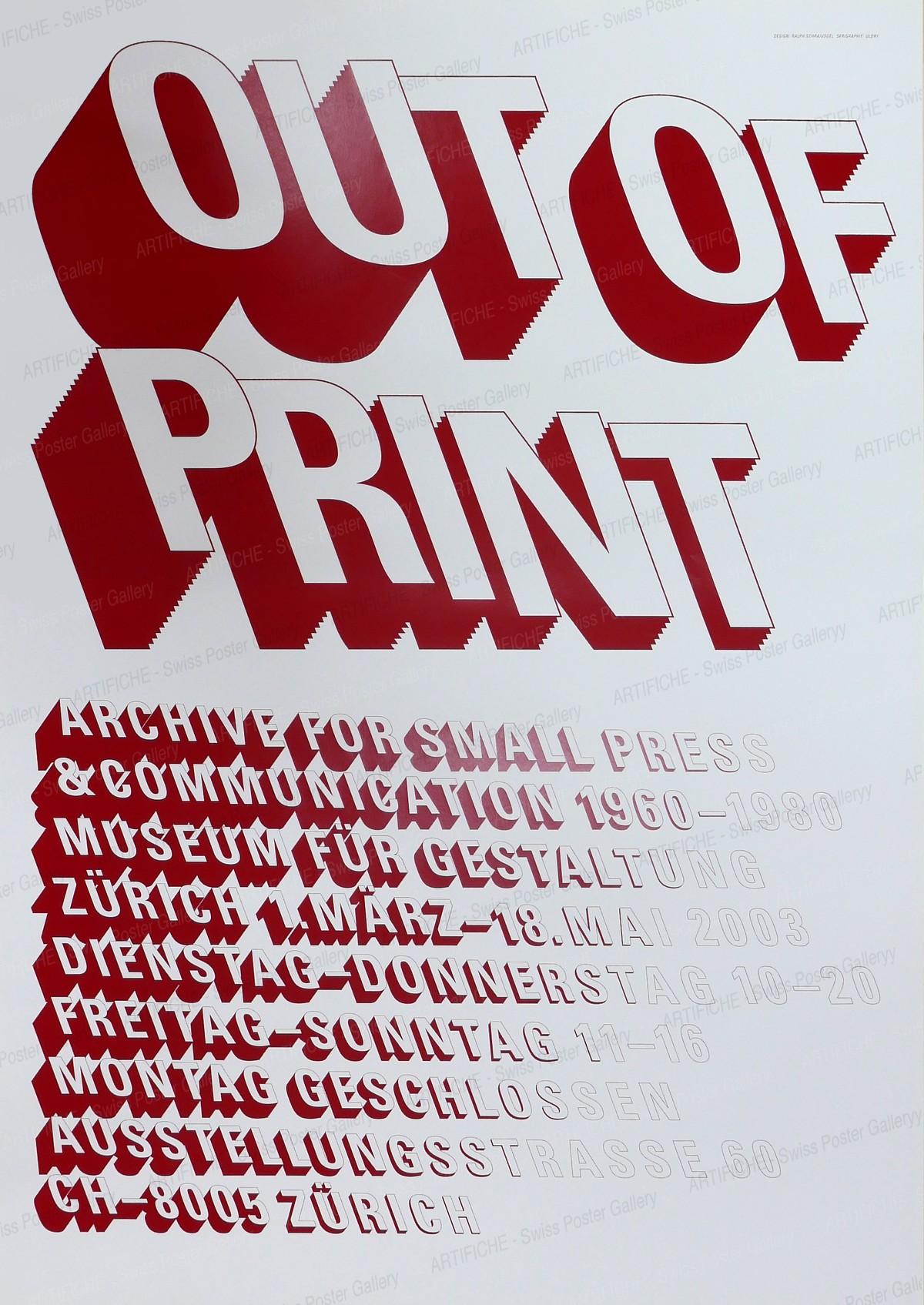 Zurich Museum of Design – Out of Print, Ralph Schraivogel