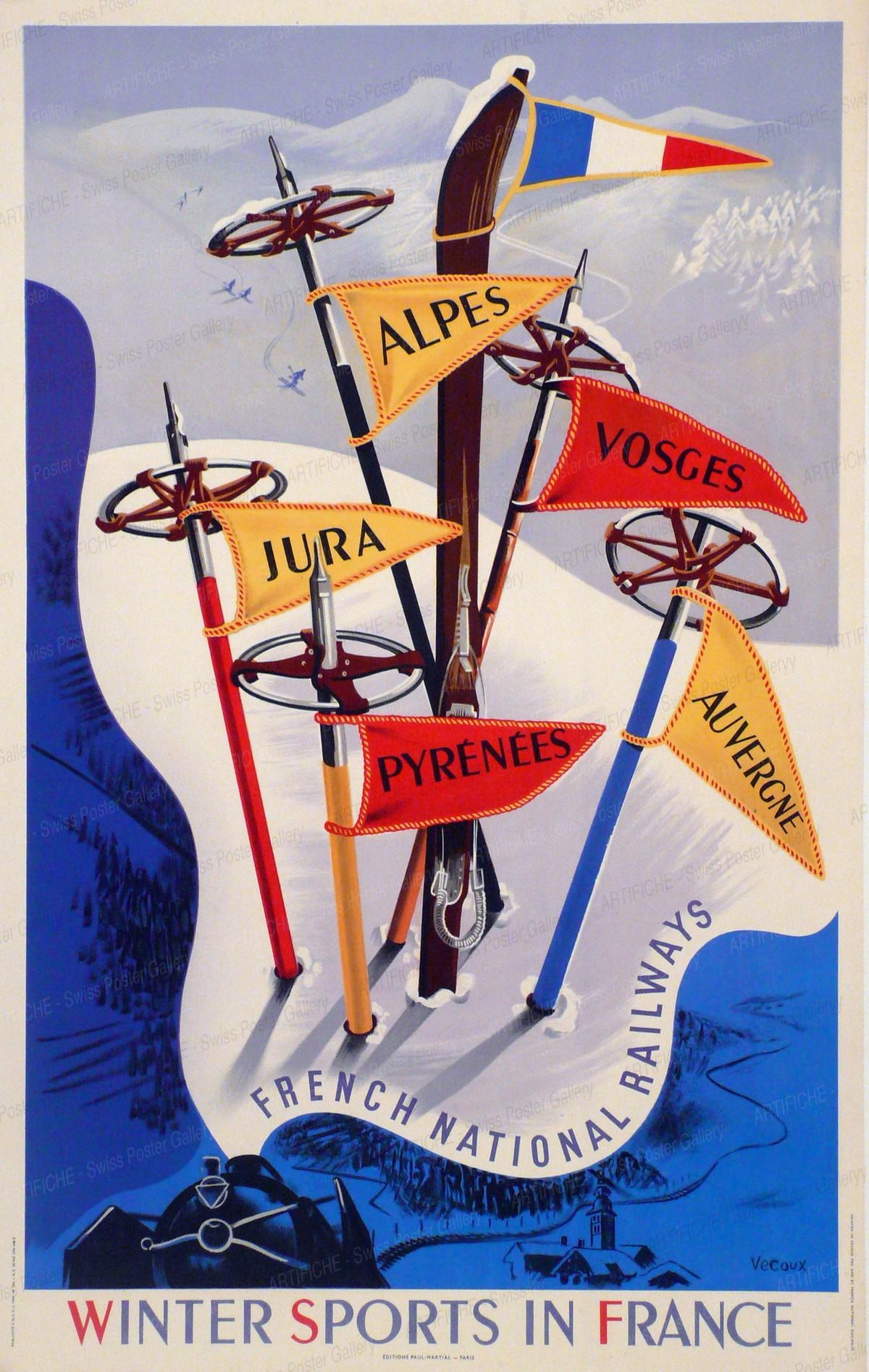 Winter Sports in France – French National Railways – Alpes – Vosges – Jura – Pyrénées – Auvergne, Vecoux