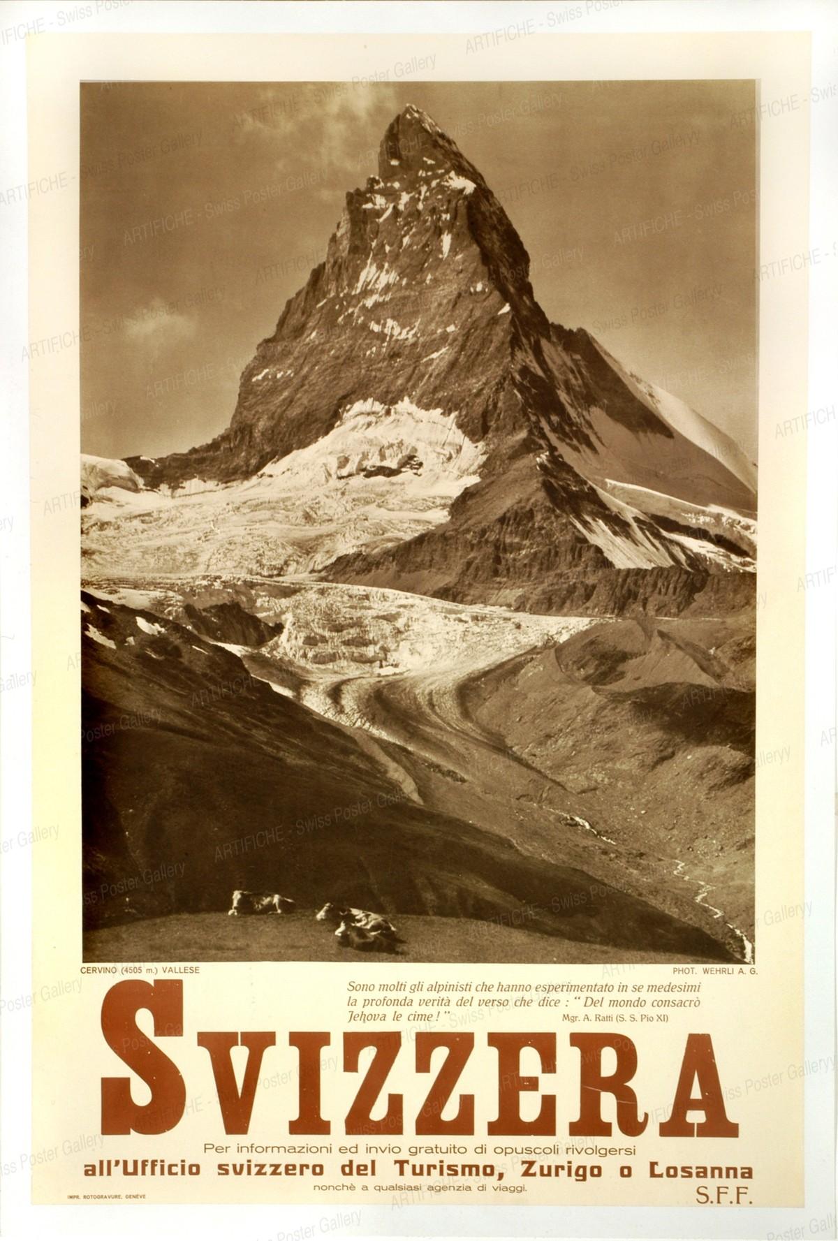 SVIZZERA – Cervino (4505) VALLESE – SFF – all ufficio svizzero del Turismo Zurigo o Losanna, Wehrli A.G. (Photo)