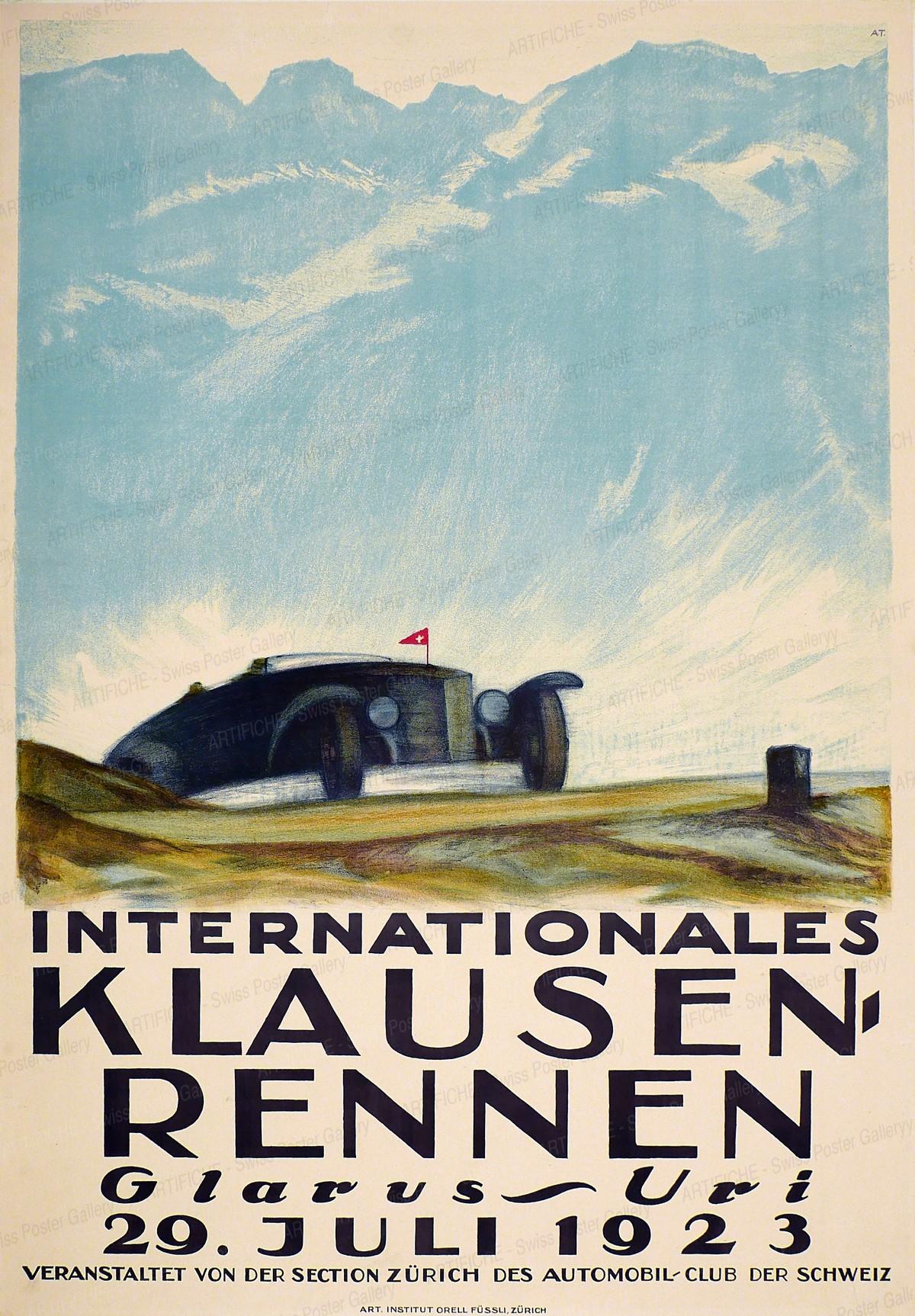 Internationales Klausen-Rennen – Glarus-Uri – 29. Juli 1923 – veranstaltet von der Section Zürich des Automobil-Club der Schweiz, Anton Trieb