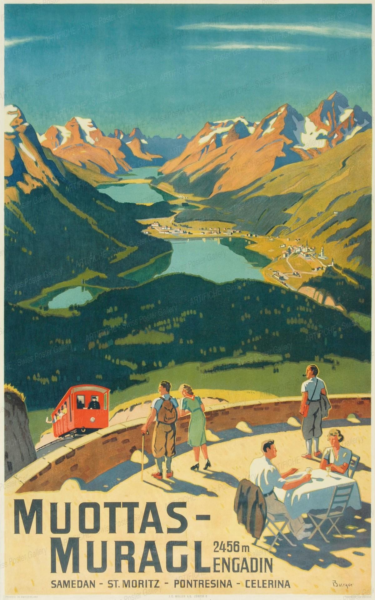 Muottas-Muragl 2456 m. Engadin Samedan – St. Moritz -Pontresina – Celerina, Wilhelm Friedrich Burger