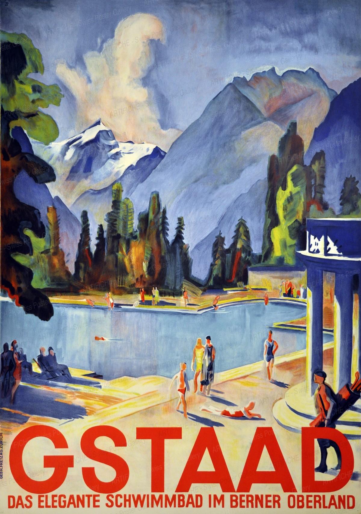 GSTAAD – Das elegante Schwimmbad im Berner Oberland, Otto Baumberger