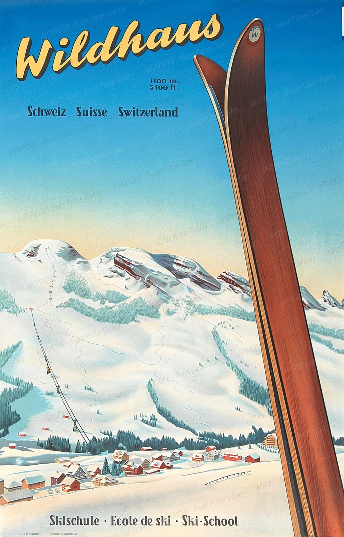 Wildhaus 1100 m. 3400 ft – Skischule – Ecole de Ski – Ski School, Fredy Hilbert