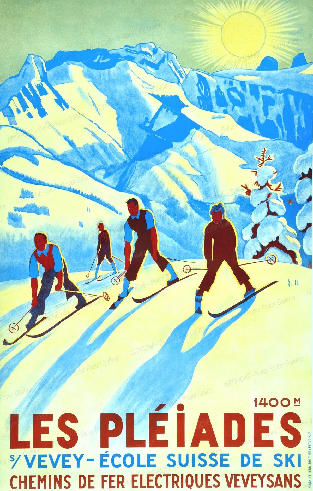 LES PLÉIADES s/Vevey – Ecole Suisse de Ski – Chemins de fer électriques Veveysans, Eric Hermès