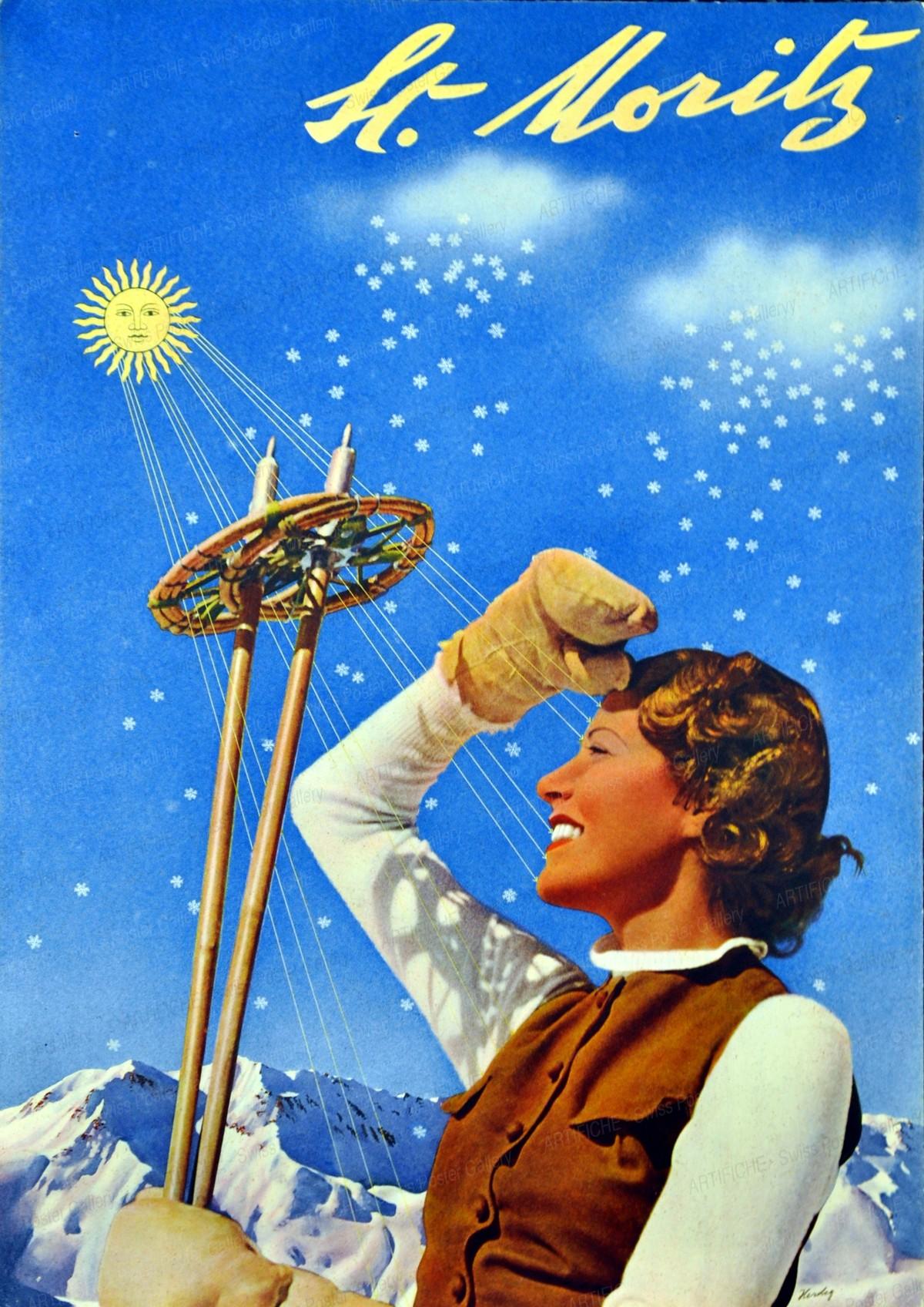 St. Moritz (vintage print ad, mounted; size 24,5 x 35 cm), Walter Herdeg