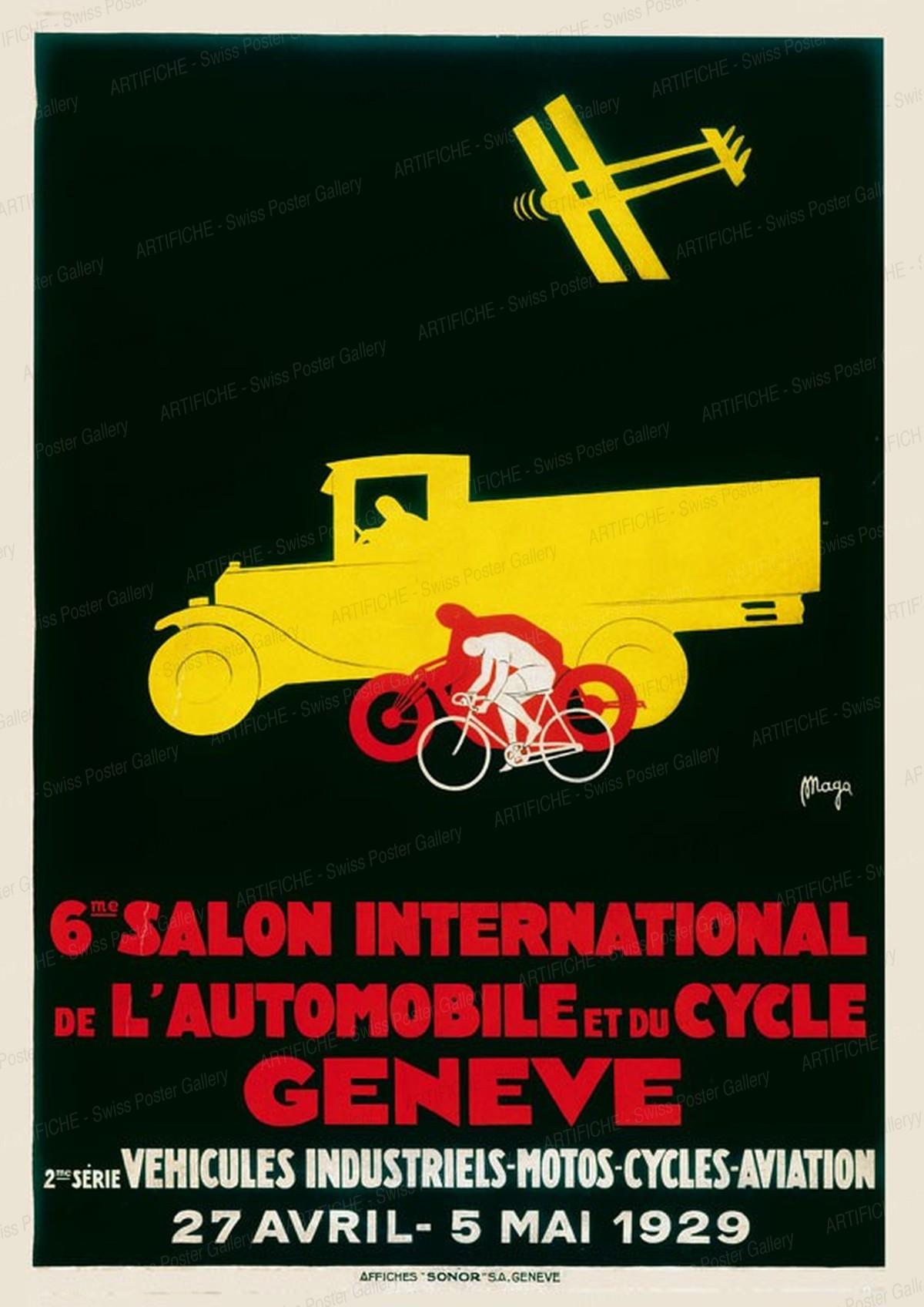 6. Internationaler Automobil- und Fahrrad-Ausstellung Genf – 2. Serie Lastwagen, Motorräder, Fahrräder, Flugzeuge 1929, Magagnoli, Giuseppe (MAGA, 1878-1933)