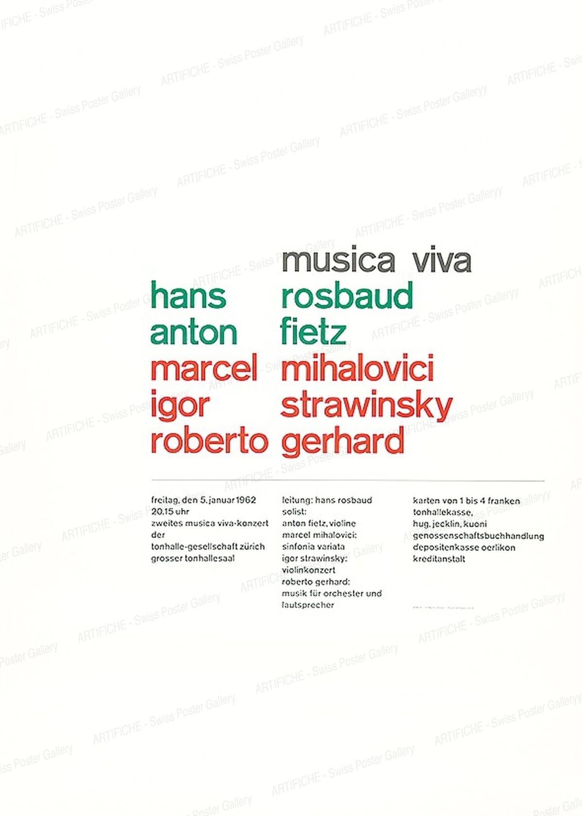 musica viva – Hans Rosbaud – Anton Fietz – Marcel Mihalovici – Igor Strawinsky – Roberto Gerhard, Josef Müller-Brockmann