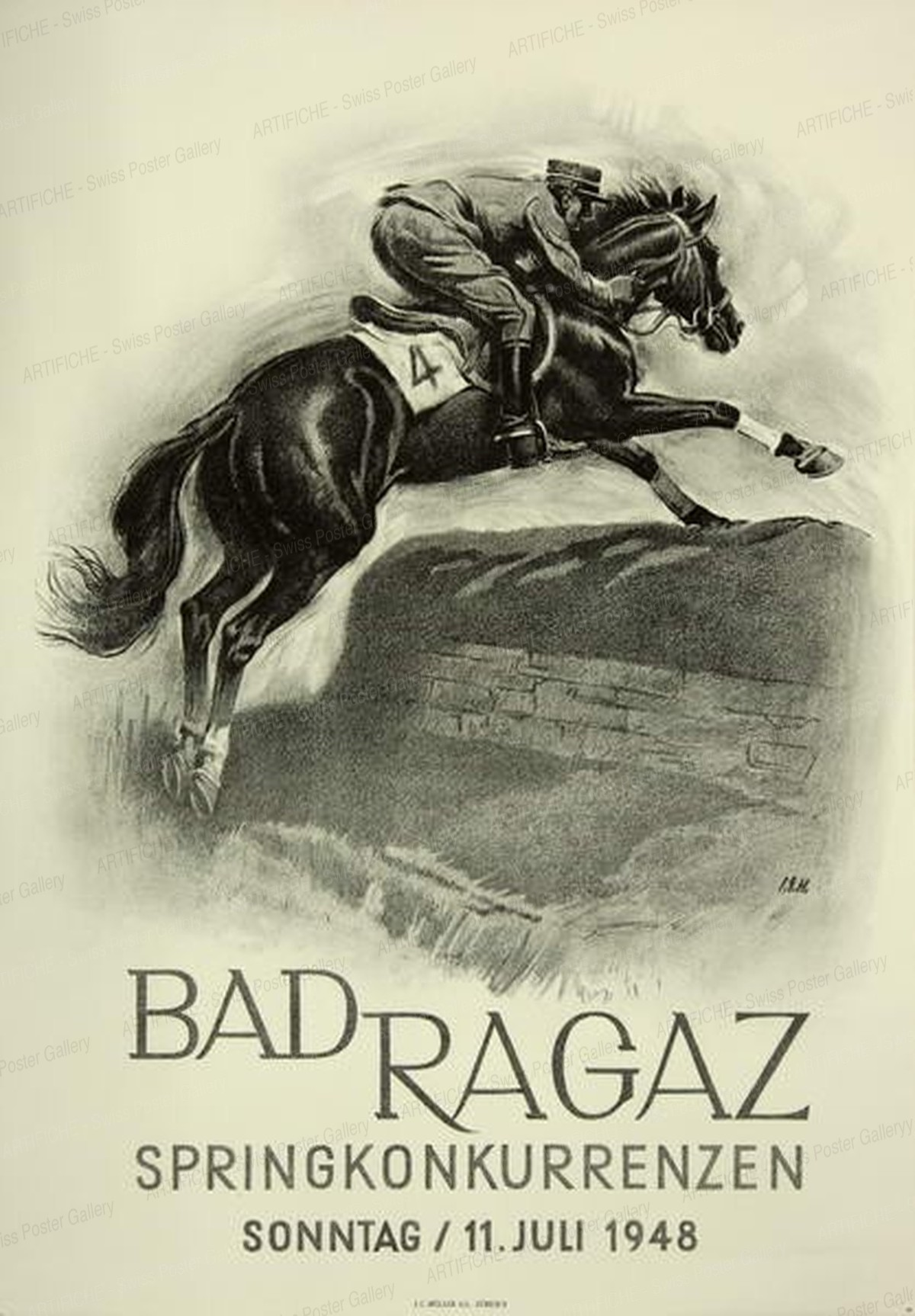 BAD RAGAZ Springkonkurrenzen – Sonntag, 11. Juli 1948, Iwan Edwin Hugentobler