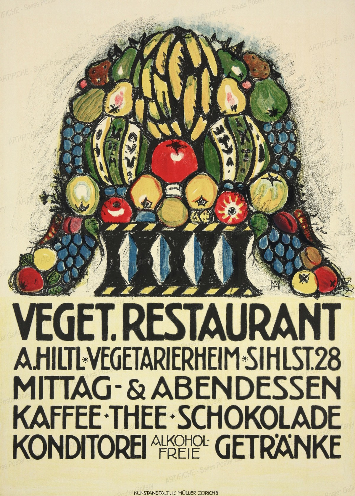 Veget. Restaurant – A. HILTL – Vegetarierheim – Sihlstr. 28, Wilhelm Hartung