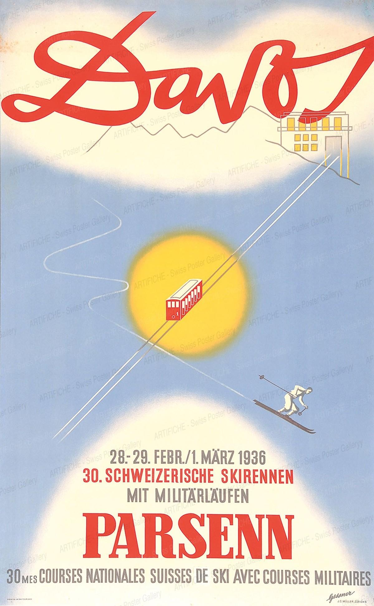 DAVOS Parsenn – 28. – 29. Februar / 1. März 1936 – 30. Schweizerische Skirennen mit Militärläufen, Robert Salomon Gessner