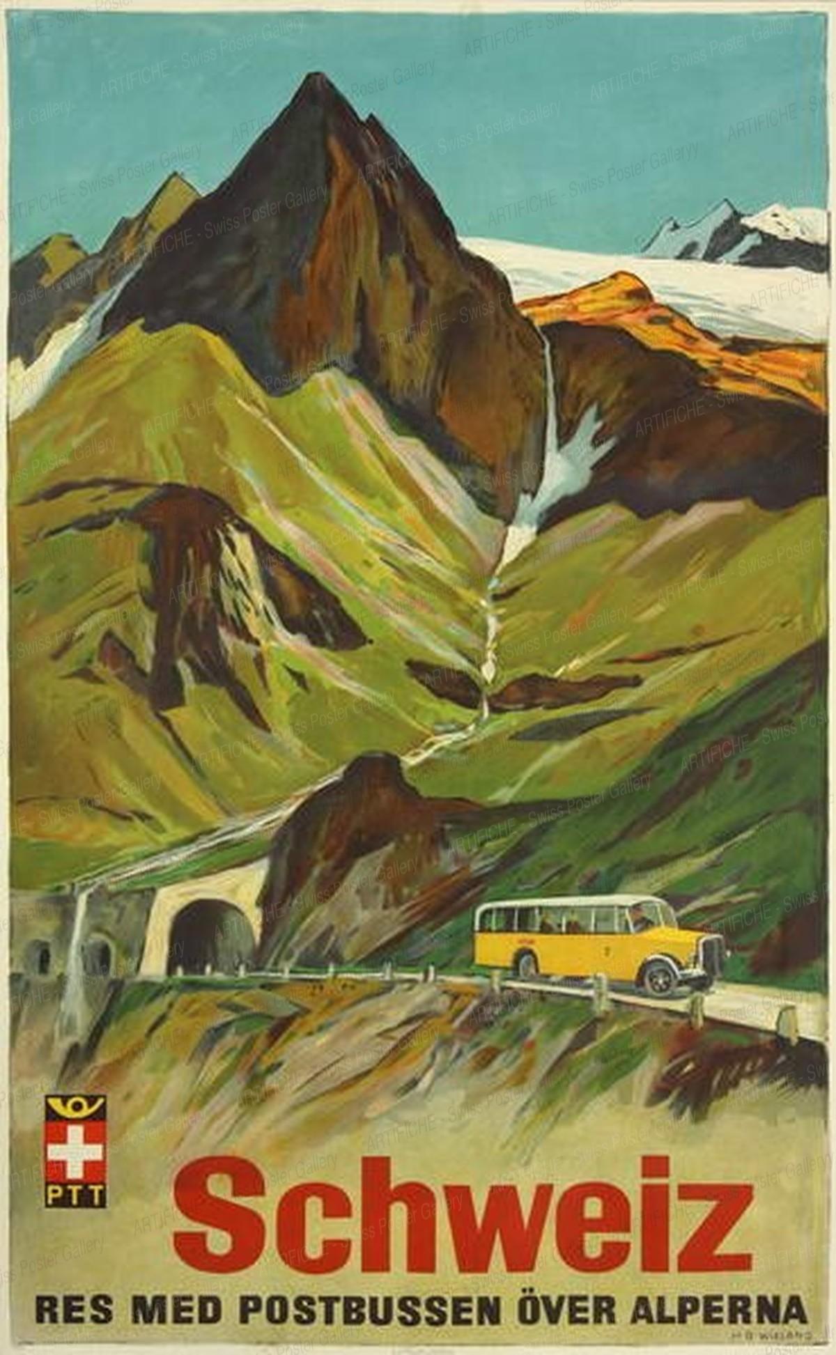 Schweiz – Res med postbussen över alperna, Hans Beat Wieland