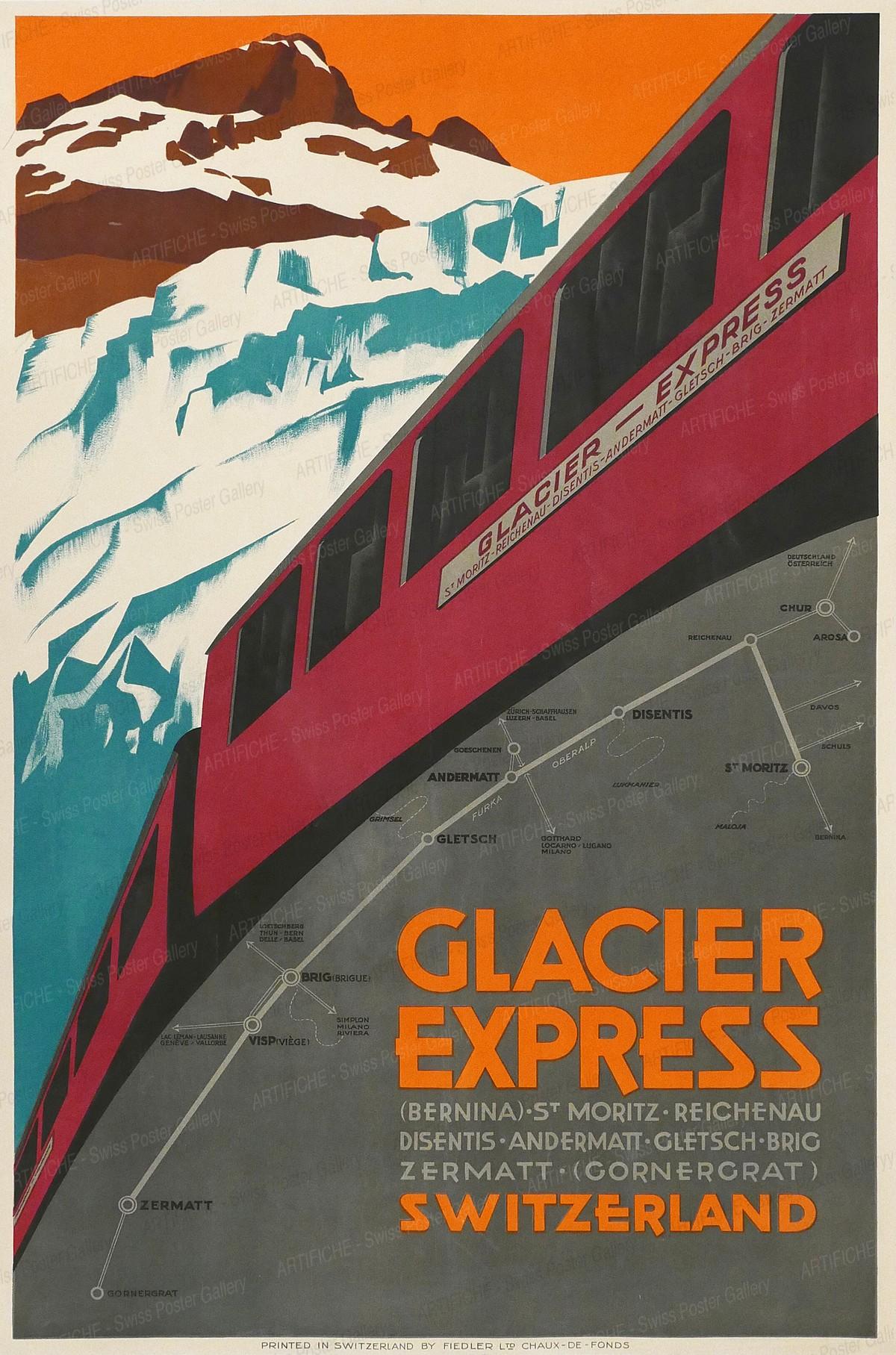 Glacier Express Switzerland (Bernina) – St. Moritz – Reichenau – Disentis – Andermatt – Gletsch – Brig – Zermatt (Gornergrat), Artist unknown