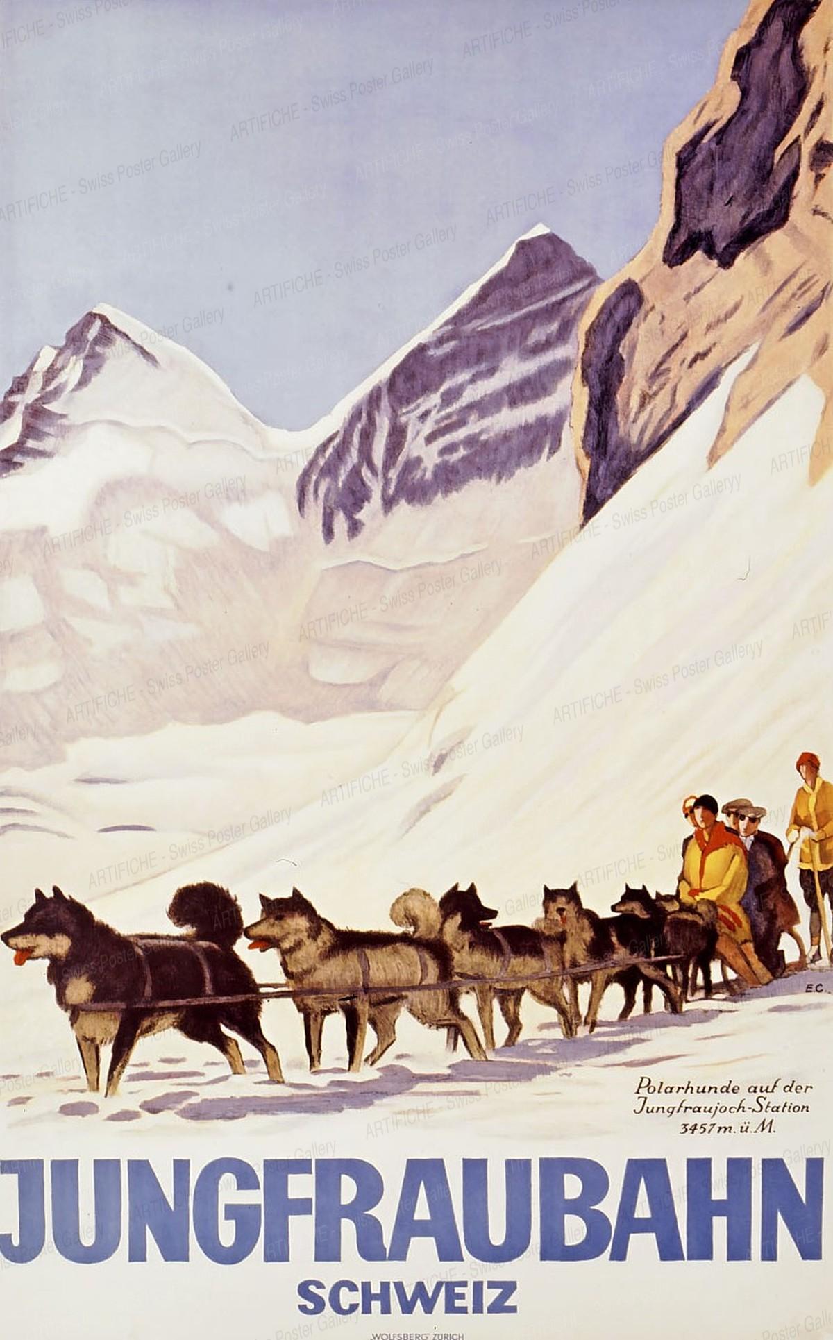 JUNGFRAUBAHN – SCHWEIZ – Polarhunde auf der Jungfraujoch-Station – 3457 m. ü. M., Emil Cardinaux