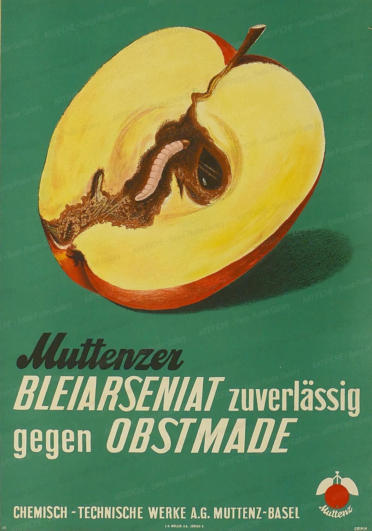 Muttenzer Bleiarseniat zurverlässig gegen Obstmade, Grimm