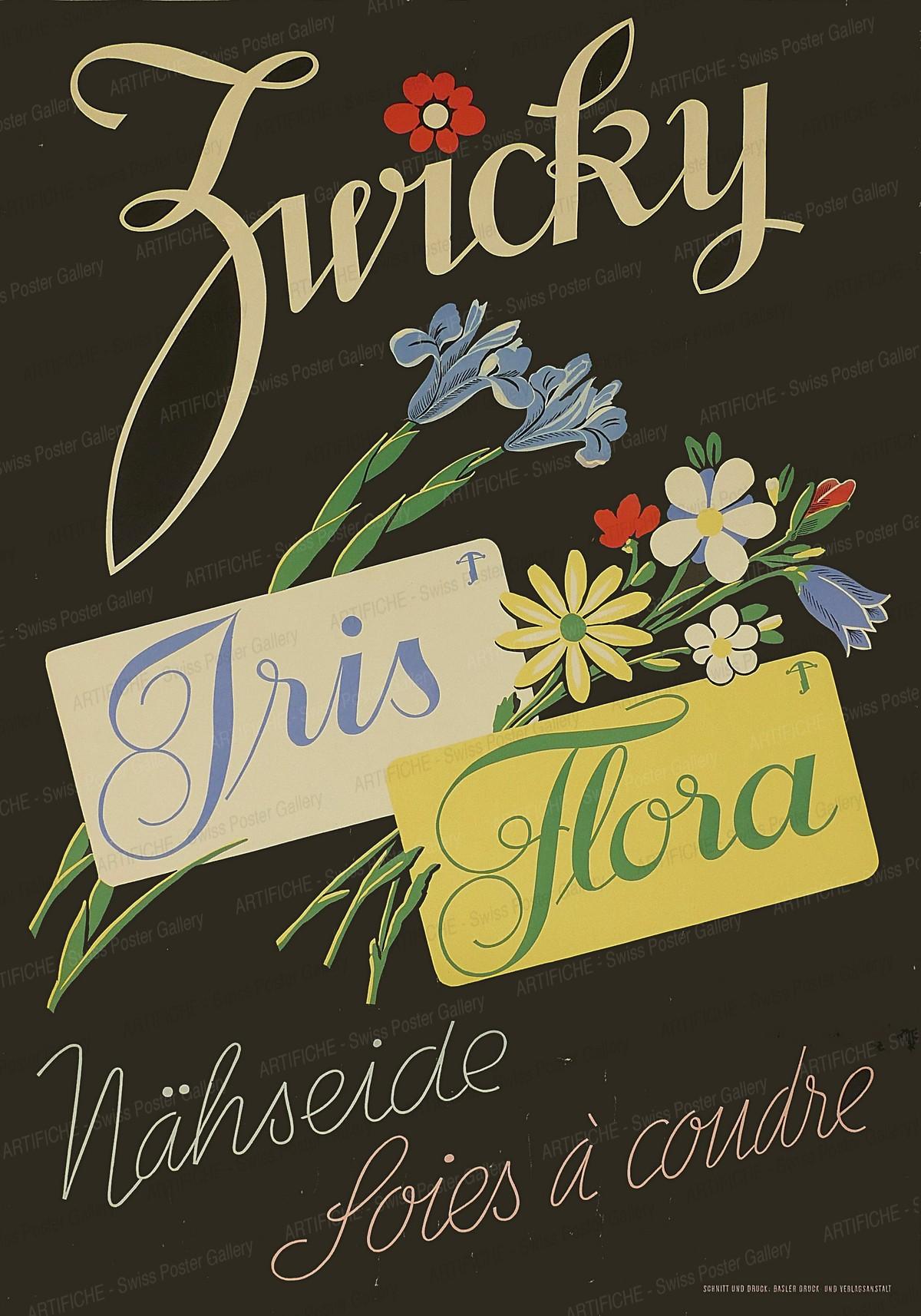 Zwicky – Iris – Flora – Nähseide – Soies à coudre, Jean Walther