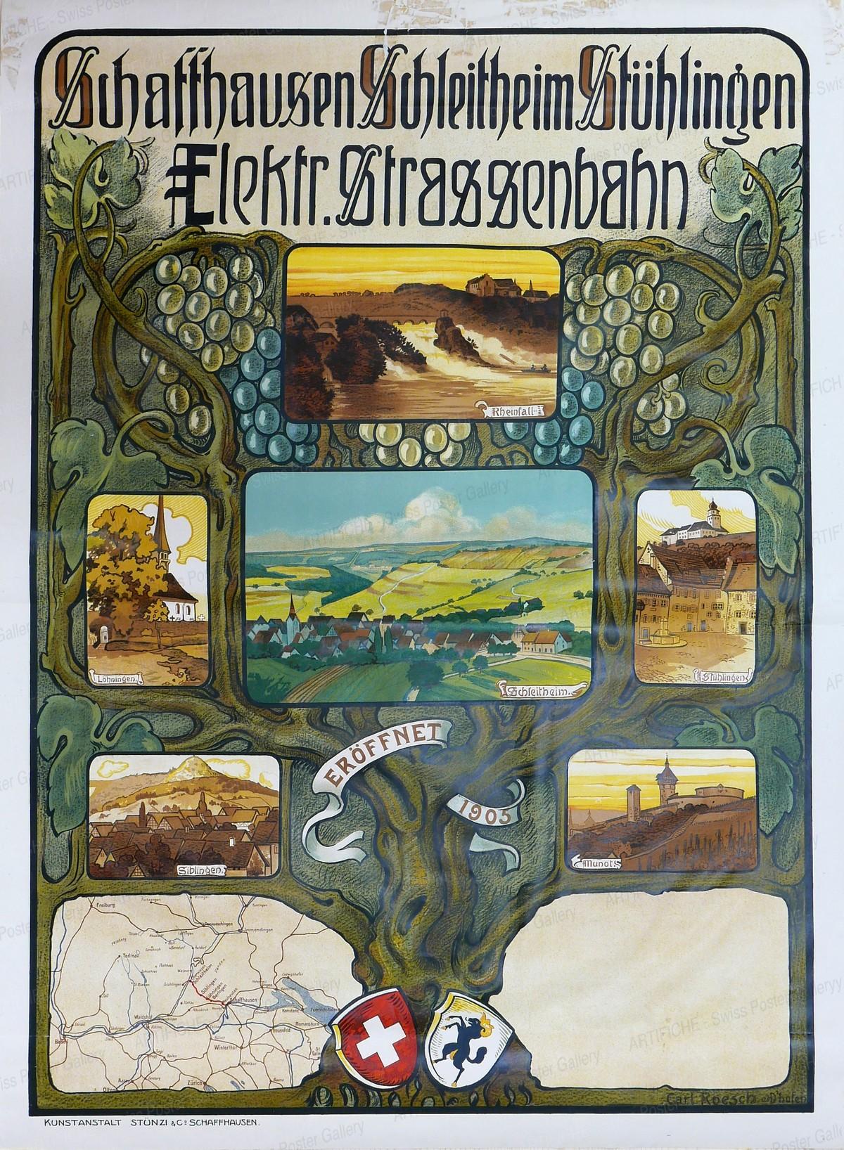 Schaffhausen Schleitheim Stühlingen – Elektrische Strassenbahn – Eröffnung 1905, Carl Roesch