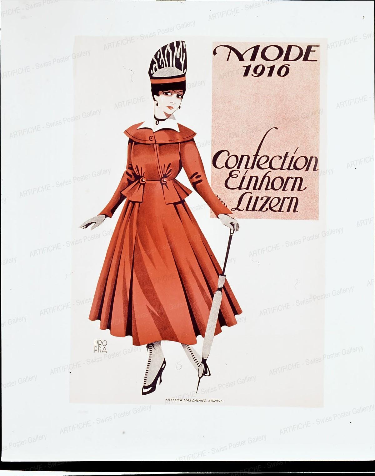 Mode 1916 – Confection Einhorn Luzern, Max Dalang