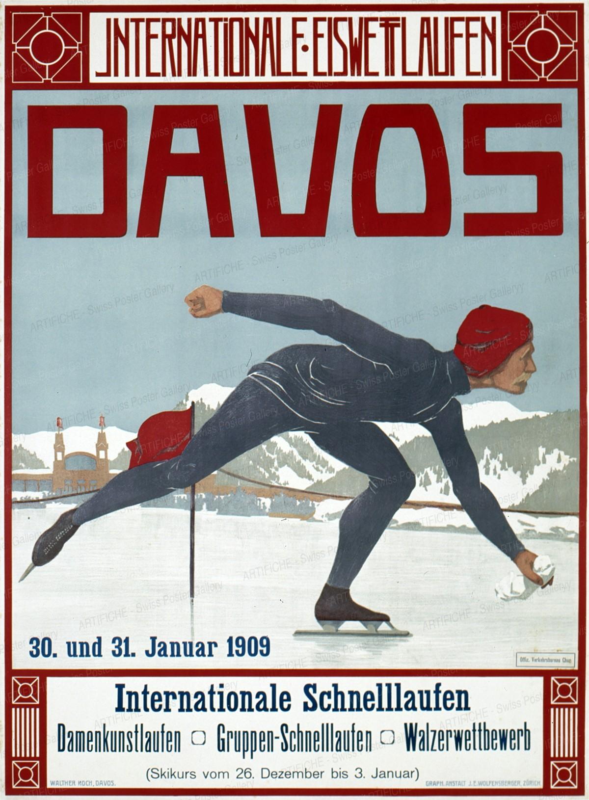 DAVOS INTERNATIONALE EISWETTLAUFEN – Internationales Schnellaufen Januar 1909, Walther Koch