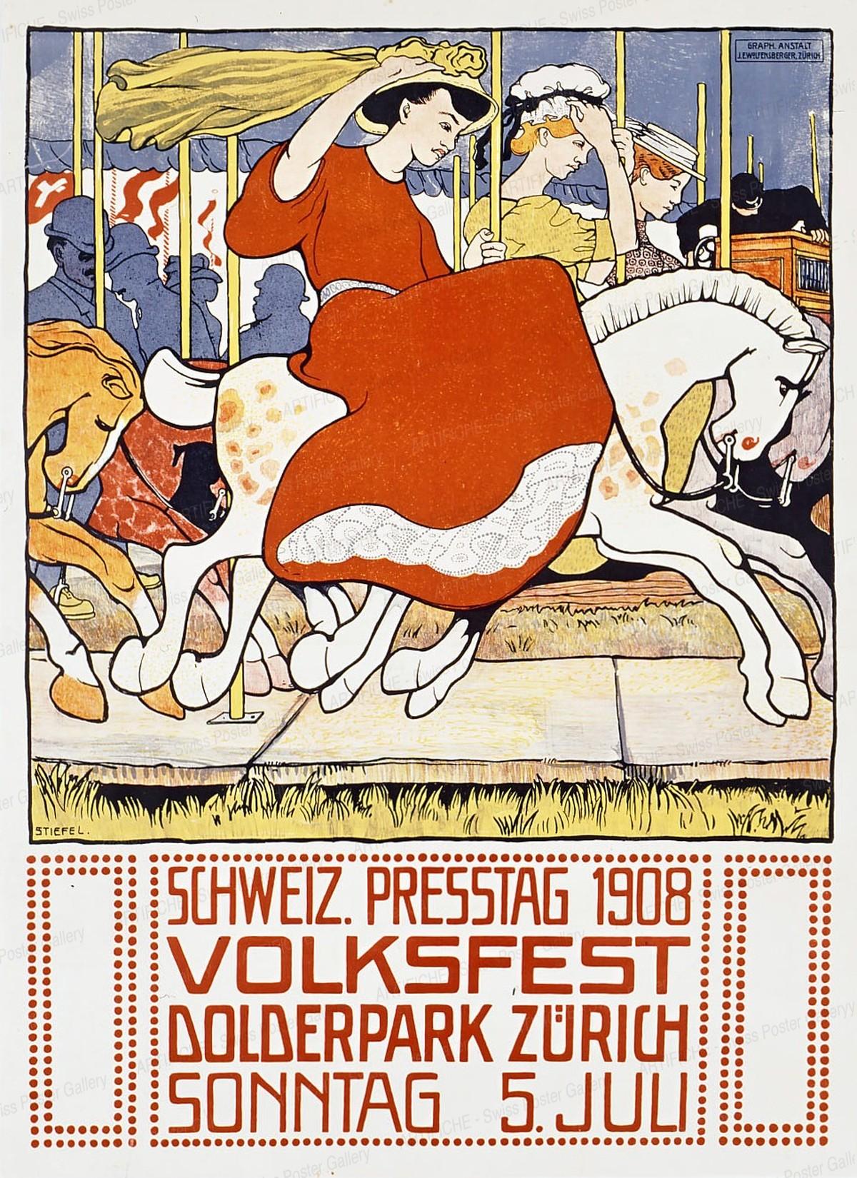 Schweiz. Presstag Volksfest Dolderpark Zürich 1908, Edouard Stiefel