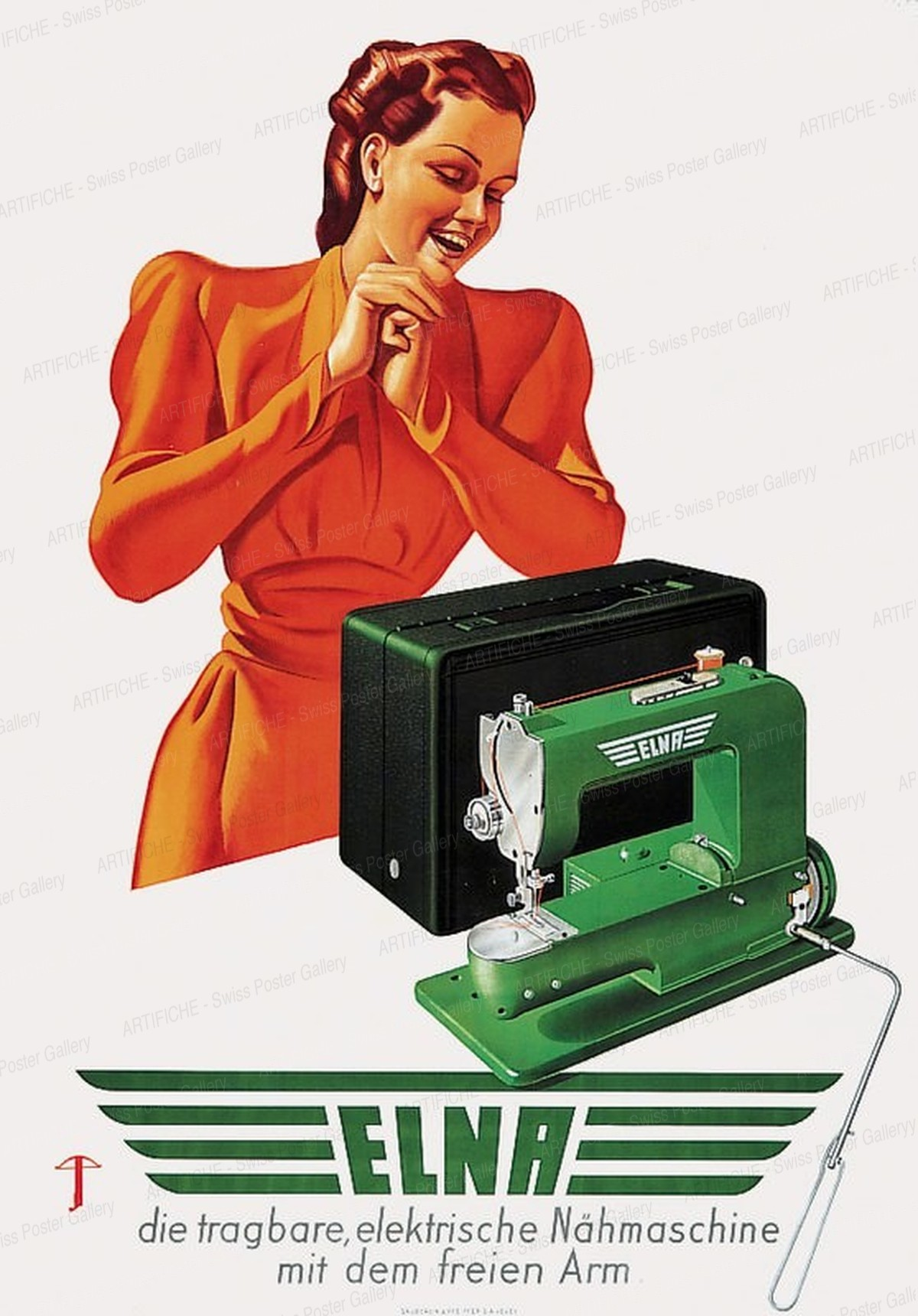 ELNA – The portable electric sewing machine, Artist unknown