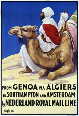 From Genoa via Algiers to Southampton and Amsterdam by Nederland Royal Mailline, Artist unknown