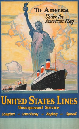 To America – under the American Flag – UNITED STATES LINES – SS Leviathan, Elijah Albert Cox
