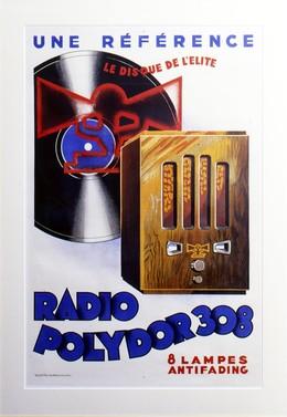 Radio Polydor 308 – Rahmen 4 cm, Licht EG, seitlich schwarz poliert, mit Passepartout, Acrylglas mit UV-Schutz, Rückwand, Endformat 102 x 144 cm, Artist unknown