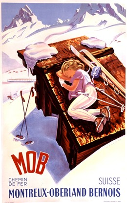 MOB – woman on top of roof with skis, Martin Peikert