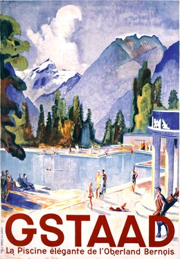 Gstaad – the elegant swimming pool in the Bernese Oberland, Otto Baumberger