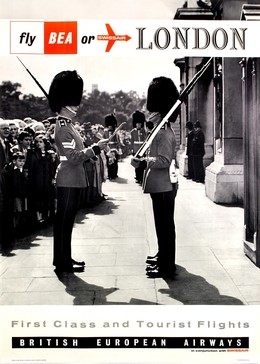 BEA or Swissair to London – changing guards, Artist unknown