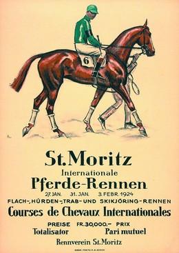St. Moritz – Pferderennen 1924 – Skikjöring, Hugo Laubi