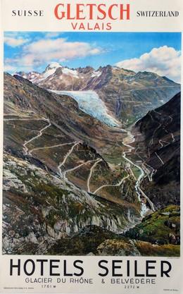 GLETSCH VALAIS – HOTELS SEILER – Glacier due Rhône & Belvedere, Wehrli A.G. (Photo)