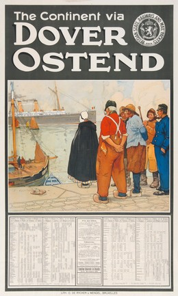 To England by Ship through Ostende/Dover Turbinenpostdampfer, Henri Cassiers