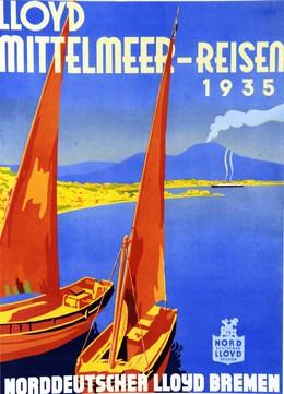 LLOYD MITTELMEER-REISEN 1935 BREMEN, Artist unknown