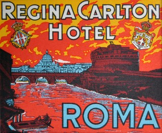 luggage hotel label, mounted; size 22 x 22cm, Artist unknown