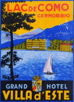 luggage hotel label, mounted; size 20 x 23 cm, Artist unknown
