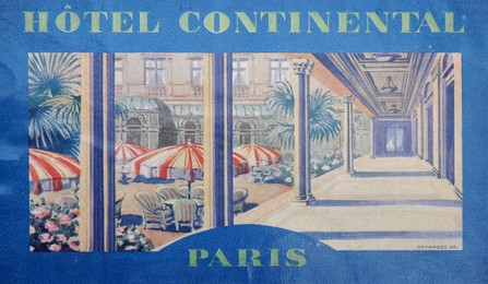 luggage hotel label, mounted; size 28 x 23 cm, Artist unknown